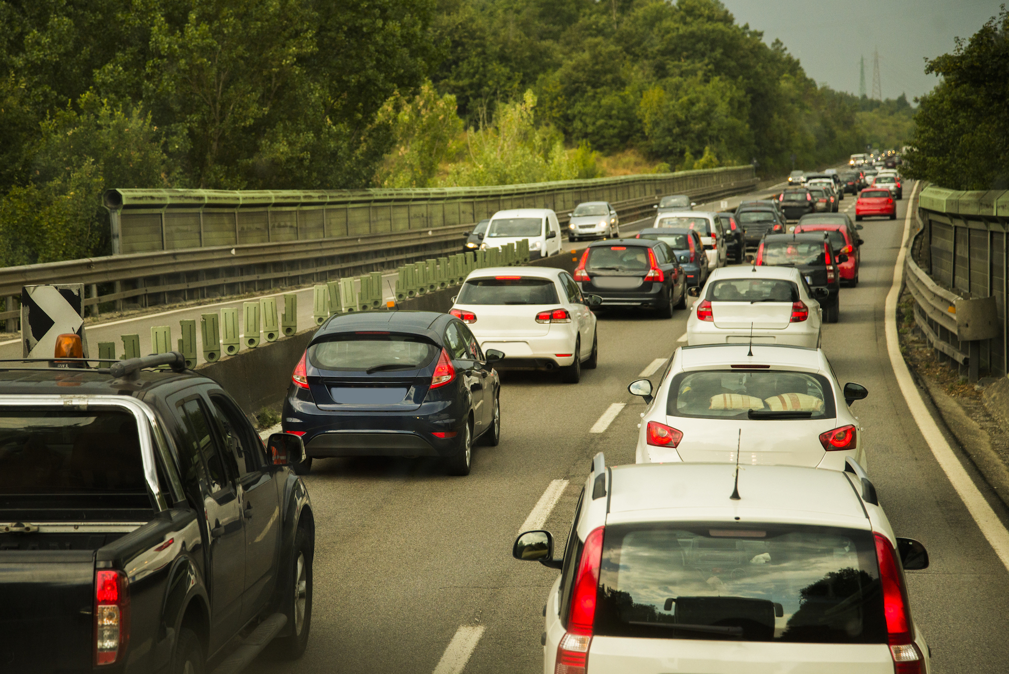 A traffic jam scene in a highway